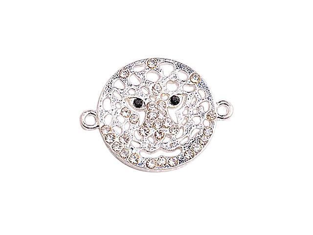 Alloy Silver Hollow Leopard Face Connectors for Bracelet
