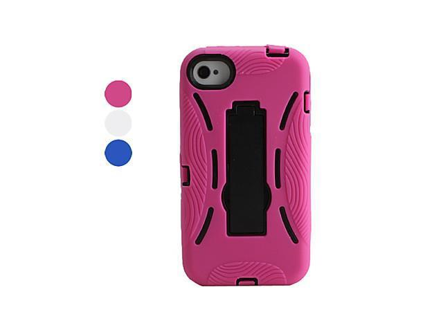 Silicone and Plastic Case and Stand for iPhone 4 and 4S (Assorted Colors) , Blue