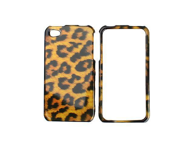 Leopard Skin Pattern Bumper and Case and Stand for iPhone 4 and 4S (Yellow)