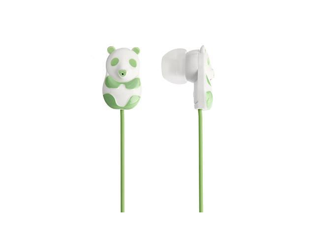 3.5mm Plug 3D Panda Style Music Stereo In-ear Earphones (125cm,Assorted Colors) , Green