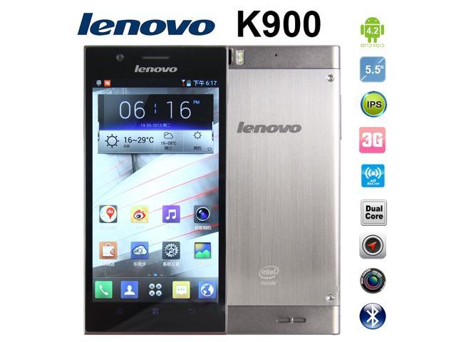 Silver Lenovo K900 Unlocked Cell Phones Android OS 4.2 Wifi Dual Cores Mobile Phone Support Multiple Language Smartphone
