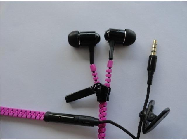 Purple Bass Metal Zipper Stlye Earphone/Headphone With Mic For Apple iPhone 4 4s 5 5s Xiao Mi Meizu