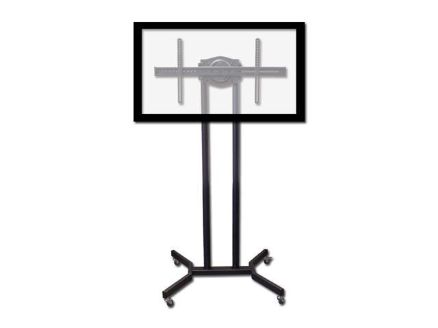 NavePoint Mobile Rolling TV Cart Stand With Locking Wheels And Adjustable Height For Flat Panel Screen LCD LED From 37-63