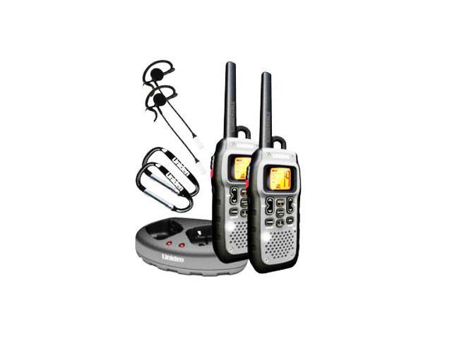 Uniden Two Submersible Floating 50 Mile Range FRS/GMRS Radios with 2 VOX Headsets and Charging Kit