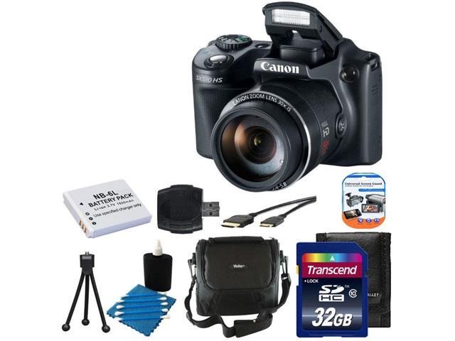 Canon PowerShot SX510 HS 12.1 MP CMOS Digital Camera with 30x Optical Zoom and 1080p Full-HD Video + Extra Battery + 32GB Class 10 Card ...