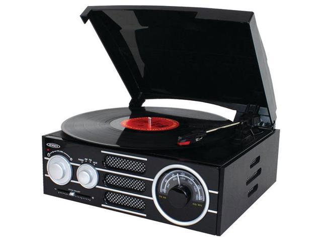 JENSEN JTA300 3-Speed Stereo Turntable with AM/FM Stereo Radio