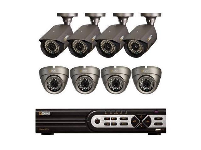 Q-SEE 8 CH QT578-1 DVR swith 8 High Resolution 700 TVL IR Cameras