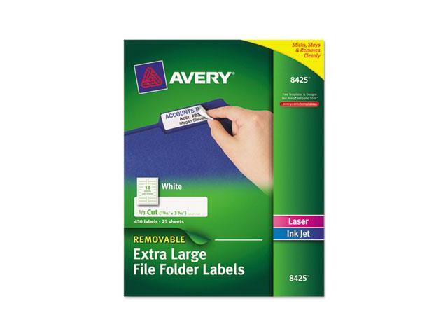 Removable Extra-Large 1/3-Cut File Folder Labels, 15/16 X 3-7/16, Whit