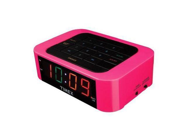 Timex T123P Simple Set Direct Entry Alarm Clock with LED Display, Pink