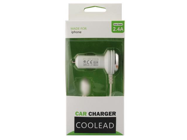 COOLEAD-Travel Car Charger 2.4A Adapter White Adaptor with Cable Cord for Apple iphone 5