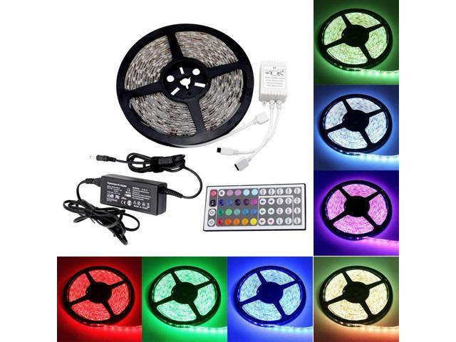 Brand New 5 Meters 16.4 Feets 300 LEDs RGB Flexible SMD 3528 LED Strip Light IP65 Waterproof Indoor Outdoor Decoration Lighting with 44 keys IR ...