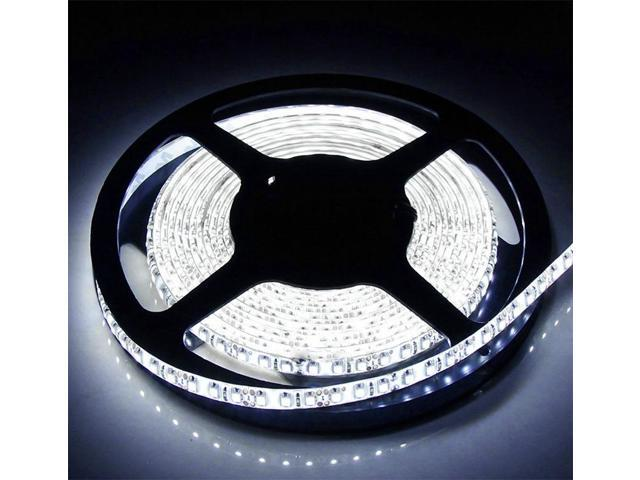 Brand New 5 Meters 16.4 Feets 300 LEDs Cool White Flexible SMD 5050 LED Strip Light IP65 Waterproof Indoor Outdoor Decoration Lighting with Adapter