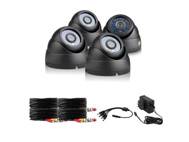 Zmodo ZMD-P4-CARZBZ4N 600TVL High Resolution Indoor/Outdoor Dome Security Cameras (Black)
