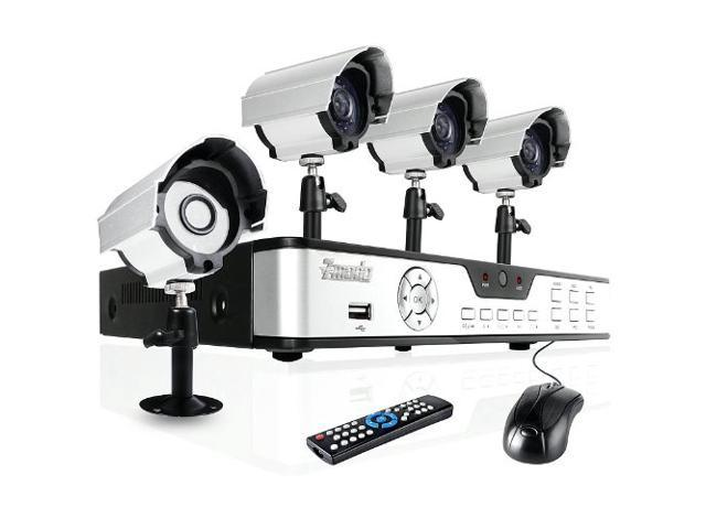 Zmodo 4CH Complete DVR System Security Surveillance Camera System with 4 Outdoor Sony CCD Night Vision Surveillance Camera No Hard Drive