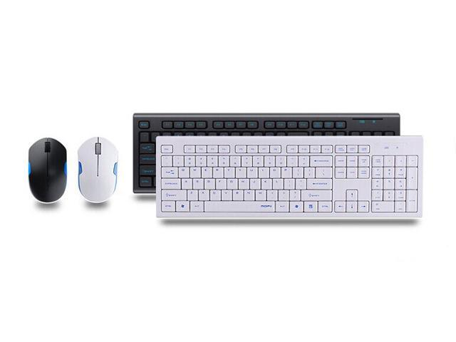CORN White & Blue Keyboard & Mouse With RF 2.4GHZ Wireless Connection, Mute Button Design, Water-Proof Design, Ultra-thin and Power Saving Design