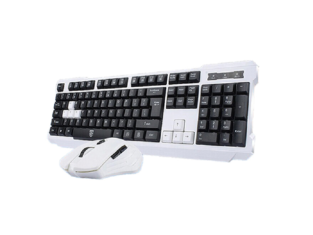 CORN Black & White Multimedia Gaming Keyboard & Mouse With USB RF 2.4GHz Wireless HTPC, Anti-Ghosting Feature, Water-Proof Design, Mute Effect ...