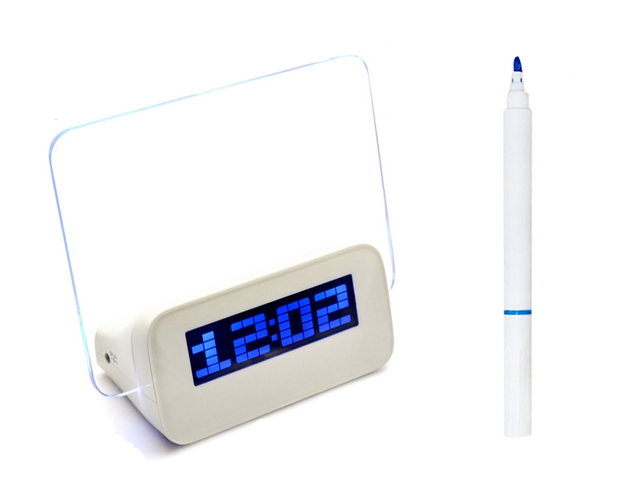 CORN Creative Gift Blue LED Screen Alarm Clock with a 4 Port USB HUB and a Fluorescent Message Board