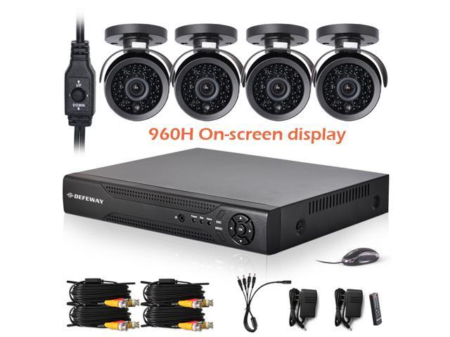 DEFEWAY 4pcs HD 1000TVL 960H Weatherproof Outdoor/Indoor Surveillance Camera with OSD control 4ch full 960H 1080P HDMI DVR NVT KIT +1TB HDD 3G ...