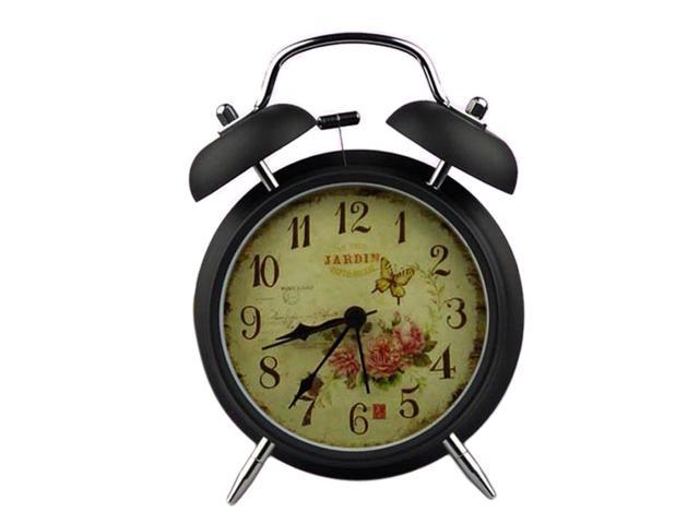 Vintage Style Angels Pattern Silent Night Function Alarm Clock Metal Twin Double Bell Alarm Clock
