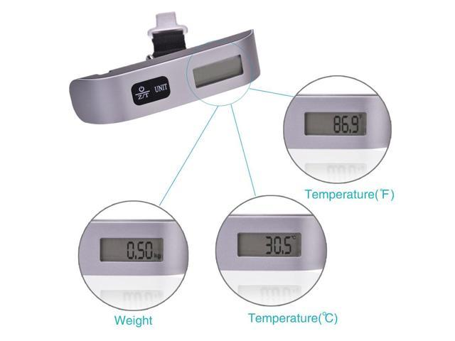 50kgx10g Portable Mini Luggage Fishing Weighing Digital Scale LCD Display With Temperature Display Black & Silver