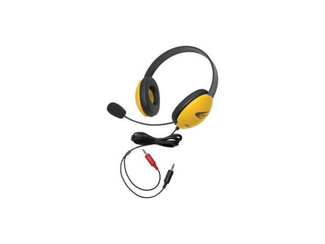 Califone Yellow Stereo Headphone w/ Mic Dual 3.5mm Plug Via Ergoguys
