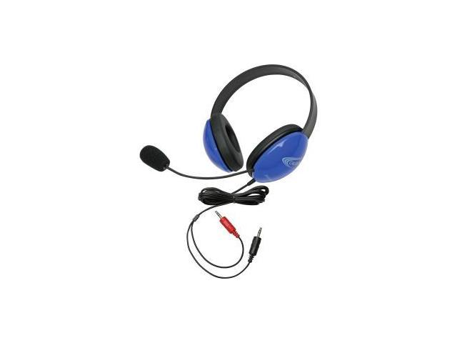 Califone Blue Stereo Headphone w/ Mic Dual 3.5mm Plug Via Ergoguys