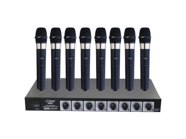 PYLE PRO PDWM8400 8-Microphone Professional Handheld VHF Wireless Microphone System