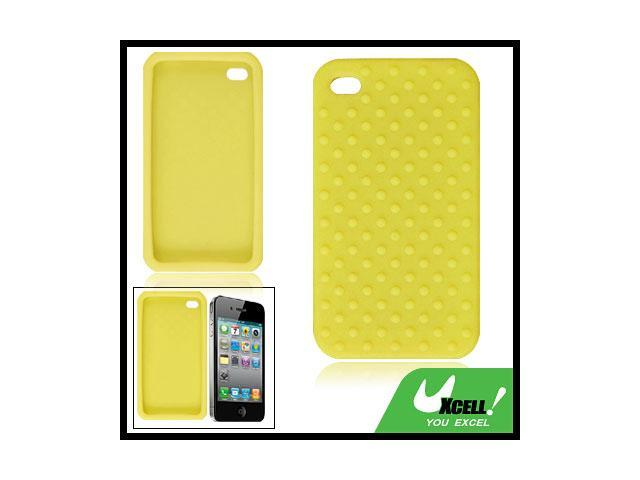 Bump Dots Design Silicone Skin Case Yellow for iPhone 4