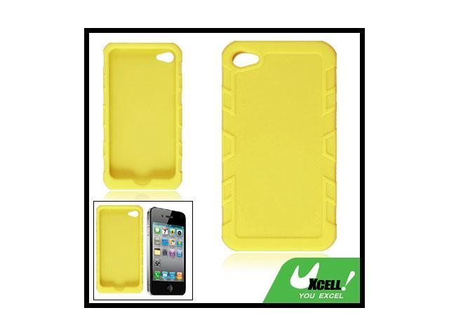 Yellow Ribbed Rim Soft Silicone Skin Cover for iPhone 4