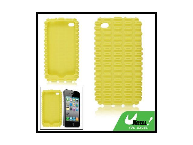 Yellow External Texture Silicone Skin Case for iPhone 4