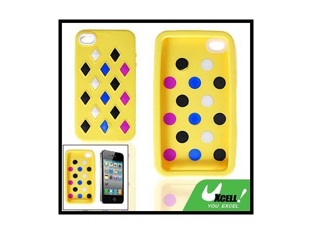 Rhombus Block Design Yellow Case Protector for iPhone 4