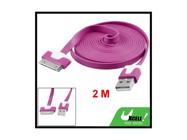 2M Sync Data Charging Flat USB Cable Fuchsia for Apple iPhone 4GS iPad3