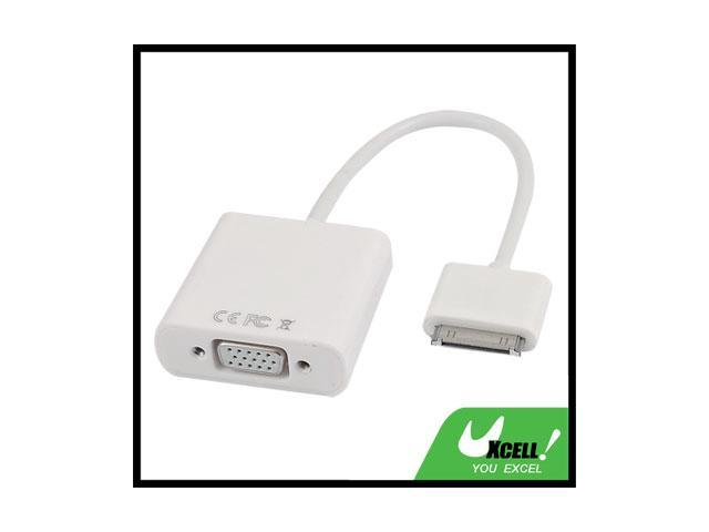 White Dock Connector to VGA Adapter for Apple iPad 2G 3G