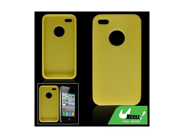 External Antislip Silicon Skin Case Yellow for iPhone 4