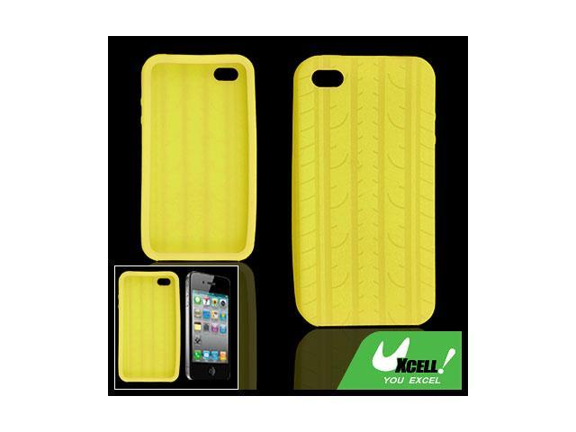 Tire Tread Style Yellow Soft Silicone Case for iPhone 4