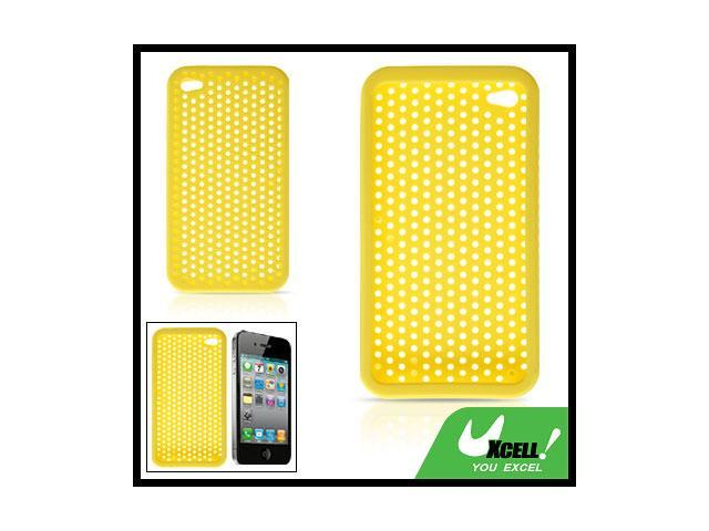 Silicone Hole Cover Protector Yellow for Apple iPhone 4
