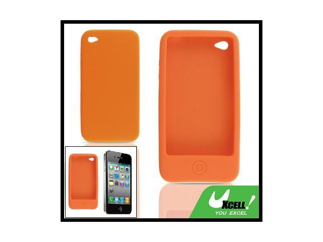 Silicone Skin Back Case Protector for iPhone 4 Orange