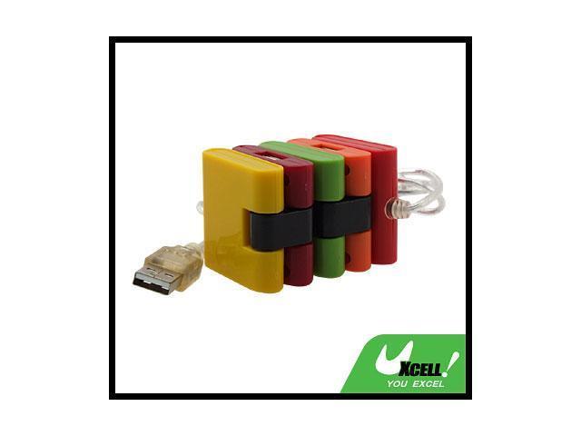 Colorful 4 Port USB Hub w/ Flashlight for PC Notebook