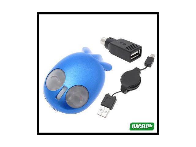 Novelty Blue USB PS/2 Mini Fish 800DPI Optical Mouse