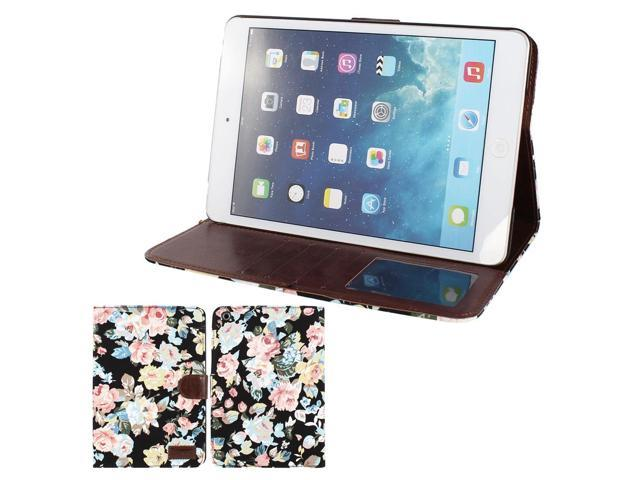 Flower Pattern Folio Stand Case Cover Black for iPad Mini 1 2 Retina Display