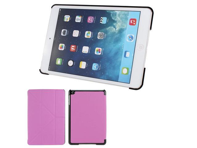 Grid Print Flip Folio Stand Case Cover Pink for iPad Mini 1 2 Retina Display