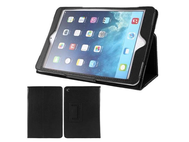 Black Lychee Print Flip Folio Stand Case Cover for iPad Mini 1 2 Retina Display