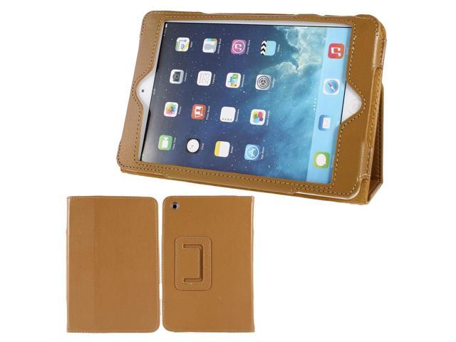 Litchi Pattern Magnet Folio Stand Case Cover Brown for iPad Mini 1 2