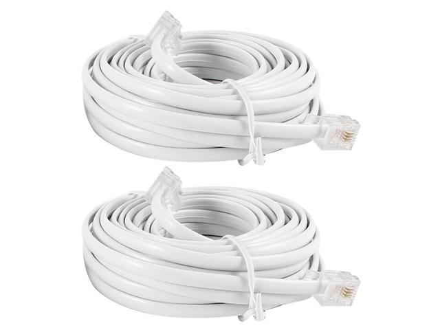 2 Pieces White RJ11 6P4C Male Plug Telephone Extenstion Cable Cord Lead 6M 20ft