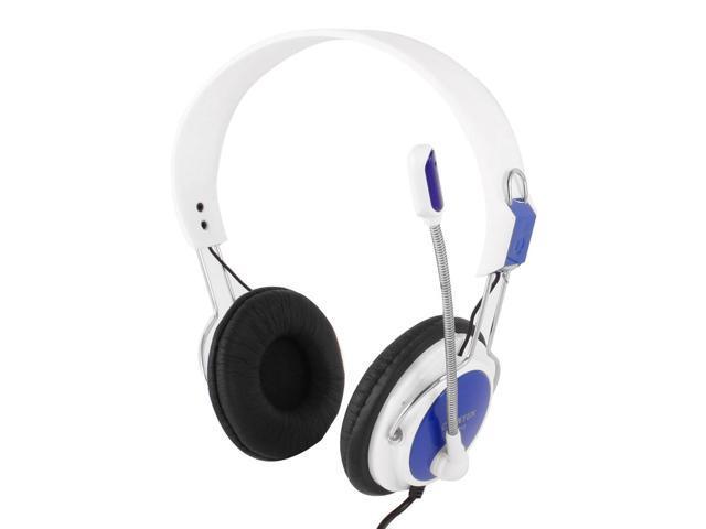White Blue Adjustable Headband 2M Cable Dual 3.5mm Stereo Plug Headphones