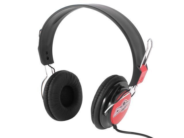 Black Red Adjustable Headband 2M Cable Dual 3.5mm Stereo Plug Headphones