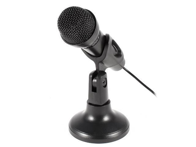 Black 3.5mm Plug Conference Studio Speech Network KTV Mini Microphone w Holder