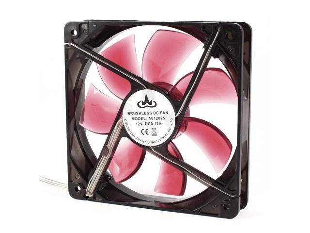 12cm 23dB 2000RPM DC 12V Sleeve Bearing Red LED Light Computer Case Cooling Fan