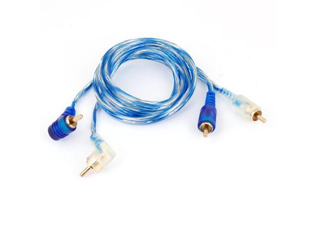 Blue 1 Meter Long Double RCA M/M Plug Stereo Audio Extension Cable