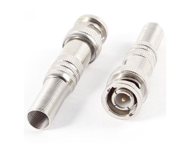 2 Pieces BNC Male Plug Spring End Coaxial Cable Connectors Silver Tone